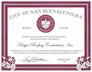 City of San Buenaventura Certificate of Recognition