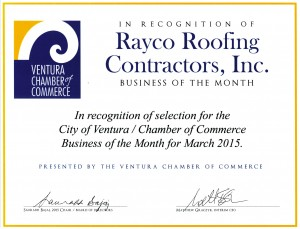 Ventura Chamber of Commerce Recognition Certificate
